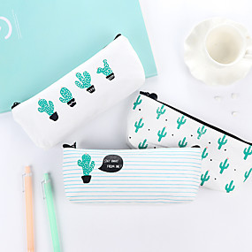 cheap Gift&Stationery-Cactus Pattern Canvas Stationery Bag 1 PCS
