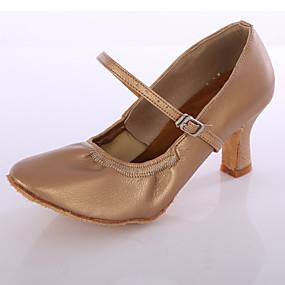 ราคาถูก Dance Shoes-สำหรับผู้หญิง รองเท้าเต้นรำ หนังหมู รองเท้าผ้าใบสำหรับเต้นรำ ส้น ส้นแบบกำหนดเอง ตัดเฉพาะได้ สีดำ / สีเงิน / สีน้ำตาล / ในที่ร่ม / EU39