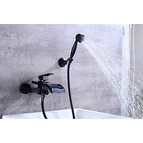 cheap Bathtub Faucets-Bathtub Faucet - Contemporary Oil-rubbed Bronze Centerset Ceramic Valve Bath Shower Mixer Taps / Brass / Single Handle Two Holes