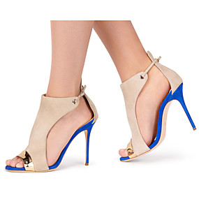 voordelige Wijdere maten schoenen-Dames Sandalen Naaldhak Peep Toe Gesp / Combinatie Synthetisch Slingback Lente / Zomer Blauw / Bruiloft / Feesten & Uitgaan / Feesten & Uitgaan / EU39