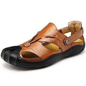 voordelige Wijdere maten schoenen-Heren Comfort schoenen Leer Lente / Zomer Sandalen Trektochten Zwart / Donker-Bruin / Bruin / Sportief / Causaal / ulko- / EU40