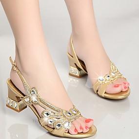 preiswerte Sapatos-Damen Sandalen Blockabsatz Strass Nappaleder Club-Schuhe Sommer Gold / Purpur / Blau / Party & Festivität / Party & Festivität