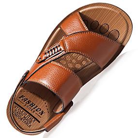 tanie Obuwie i torebki-Męskie Komfortowe buty Wiosna / Lato Casual Casual Na zewnątrz Sandały Spacery Skóra Oddychający Khaki / Brązowy / Czarny / Ćwiek / EU40