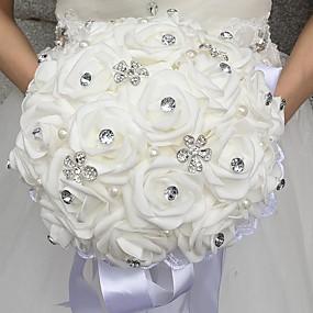 preiswerte Hochzeitsblumen-Hochzeitsblumen Sträuße Hochzeit Perlen / Strass / Schaum 28 cm ca.