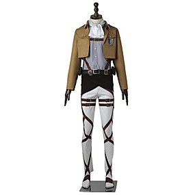 preiswerte 2019 Fantasias & Cosplay-Inspiriert von Attack on Titan Levi Ackerman Anime Cosplay Kostüme Japanisch Cosplay Kostüme Solide Langarm Top / Hosen / Schürze Für Herrn / Damen