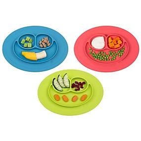 preiswerte Küche & Utensilien-1pcs neues Kleinkindbaby scherzt Nahrung placemat einteiliges Silikon geteilte Tellerschüsselplatten