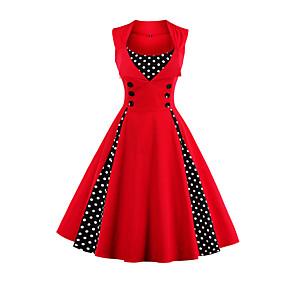 preiswerte Fashion & Clothing-Damen Übergrössen Retro 50er A-Linie Kleid Punkt Midi Rot