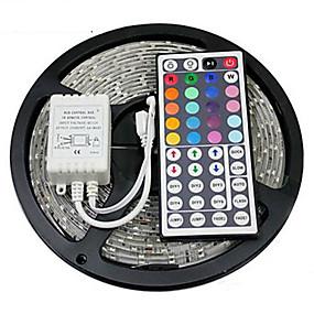 abordables Guirlandes & Bandes Lumineuses-zdm 5m étanche 300 x 2835 8mm rgb led bandes lumière flexible et ir 44key télécommande linkable auto-adhésif changeant de couleur