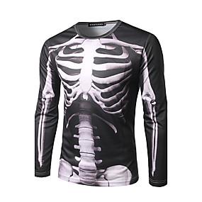 cheap Happy Halloween-Men's Halloween T-shirt Graphic Skull Print Long Sleeve Tops Streetwear Round Neck Black