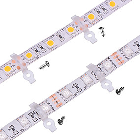 저렴한 조명 액세서리-100 팩 - 야외 실리콘 커버 10mm 와이드 pcb 방수 smd5050 led 스트립에 대 한 스트립 빛 장착 브래킷 클립