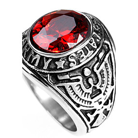 cheap Special Moments-Men's Statement Ring Ring Sapphire Black Red Green Titanium Steel Personalized Punk Rock Christmas Gifts Party Jewelry Solitaire Round Cut High School Rings Class Magic