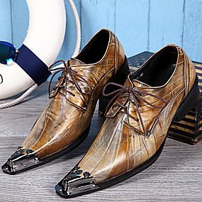 levne Větší obuv-Pánské Společenské boty Nappa Leather Jaro / Podzim Vintage Oxfordské Zlatá / Party / Party / Venkovní / Novinka boty