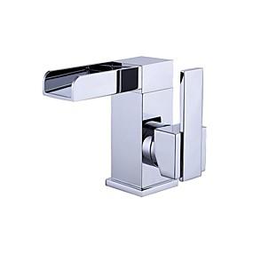 preiswerte MLFALLS®-Waschbecken Wasserhahn - Wasserfall Chrom Mittellage Einhand Ein LochBath Taps / Messing