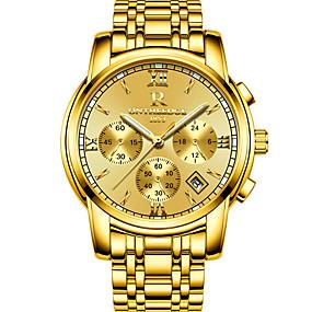 cheap Clearance-ONTHEEDGE Men's Sport Watch Military Watch Wrist Watch Japanese Quartz Three-eye Six-needle Stainless Steel Black / Silver / Gold 30 m Water Resistant / Waterproof Calendar / date / day Luminous
