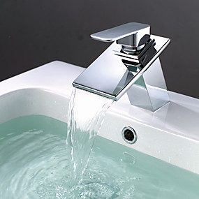 preiswerte MLFALLS®-Moderne Modern Mittellage Wasserfall Keramisches Ventil Ein Loch Einhand Ein Loch Chrom, Waschbecken Wasserhahn