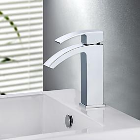 preiswerte MLFALLS®-Waschbecken Wasserhahn - Wasserfall Chrom Mittellage Einhand Ein Loch