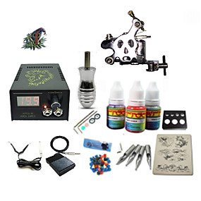 preiswerte Tattoo Beginner Sets-Tätowiermaschine Beginner Set - 1 pcs Tattoo-Maschinen mit 1 x 5 ml Tätowierfarben, Professionell LCD-Stromversorgung Case Not Included 1