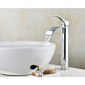 preiswerte Meist verkaufte Armaturen-Waschbecken Wasserhahn - Wasserfall Chrom Mittellage Einhand Ein LochBath Taps