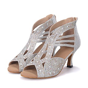 cheap Party Collections-Women's Dance Shoes Sparkling Glitter Latin Shoes / Salsa Shoes Rhinestone / Sparkling Glitter Sandal / Heel Flared Heel Customizable Black / Silver / Golden / Performance / Leather / Professional