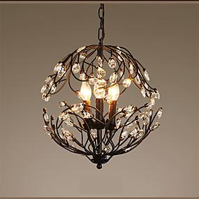povoljno Lámpatestek-3-Light Privjesak Svjetla Ambient Light Slikano završi Metal Crystal, svijeća Style 110V / 220-240V Meleg fehér Bulb Included