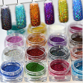 preiswerte Nagel-Funkeln-1set 17pcs Puder / Glitzerpulver Elegant & Luxuriös / Strahlend & Funkelnd / Nagel Glitter Nagel-Kunst-Design