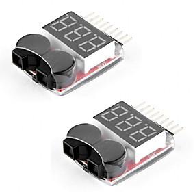 preiswerte Bildschirme-2 Packungen rc Lipo Batterie Monitor Alarm Tester Checker Niederspannung Buzzer Alarm mit LED-Anzeige für 1-8s Lipo Leben limn