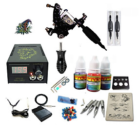 cheap Tattoos & Body Art-Tattoo Machine Starter Kit - 1 pcs Tattoo Machines with 1 x 5 ml tattoo inks LCD power supply Case Not Included 1 damascus steel machine liner & shader