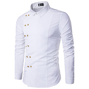 cheap Athleisure Wear-Men's Shirt Solid Colored Long Sleeve Daily Slim Tops Casual Classic Collar White Red Black / Fall / Spring