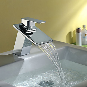 preiswerte Badarmaturen-Waschbecken Wasserhahn - Wasserfall Chrom Mittellage Einhand Ein LochBath Taps