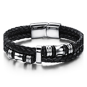 cheap Birthday Party-Men's Leather Bracelet Geometrical Twisted woven Vintage Punk Rock Fashion Hip-Hop Genuine Leather Bracelet Jewelry Black For Birthday Training Dailywear Sports Outdoor Athletic Sport