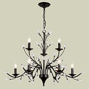 povoljno Stropna svjetla i ventilatori-luster za svijeću s lampom lightmyself ™ s osvjetljenjem završava metalni kristal, žarulja od 110-120v / 220-240v nije uključena / e12 / e14