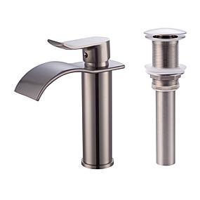 povoljno Slavine-Set za slavinu - Waterfall Nickel Brushed Središnje pozicionirane Jedan Ručka jedna rupaBath Taps / Brass