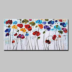 povoljno Slike za cvjetnim/biljnim motivima-Hang oslikana uljanim bojama Ručno oslikana - Cvjetni / Botanički Moderna Europska Style Uključi Unutarnji okvir / Prošireni platno