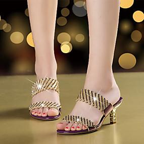 preiswerte Kristallsandalen-Damen Sandalen Stöckelabsatz Offene Spitze Strass / Glitter Mikrofaser Walking Sommer / Herbst Gold / Schwarz / Purpur / Club-Schuhe / Party & Festivität / EU39