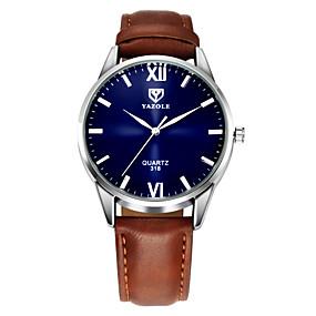 preiswerte Markenuhren-YAZOLE Herrn Uhr Armbanduhr Leder Schwarz / Braun Armbanduhren für den Alltag Analog Klassisch Freizeit Einfache Uhr Schwarz Braun / Ein Jahr