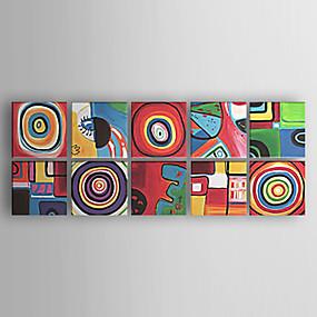 preiswerte Haus & Garten-Hang-Ölgemälde Handgemalte - Abstrakt Abstrakt Moderne zeitgenössische Fügen Innenrahmen / Gestreckte Leinwand