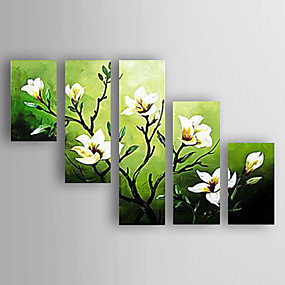 povoljno Slike za cvjetnim/biljnim motivima-Hang oslikana uljanim bojama Ručno oslikana - Cvjetni / Botanički Sažetak Suvremena suvremena Novi Dolazak Uključi Unutarnji okvir / Pet ploha