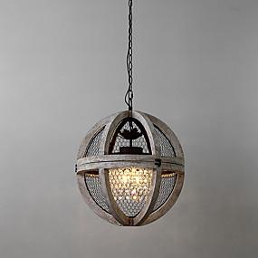preiswerte Ausverkauf-3-Licht-Globe Kronleuchter Downlight lackiert Holz / Bambus Mini-Stil 110-120V / 220-240V / E12 / E14