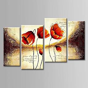 povoljno Slike za cvjetnim/biljnim motivima-Hang oslikana uljanim bojama Ručno oslikana - Cvjetni / Botanički Sažetak Platno Četiri plohe