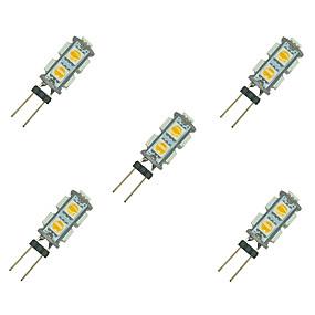 cheap LED Bi-pin Lights-5pcs 1.5 W LED Bi-pin Lights 85 lm G4 9 LED Beads SMD 5050 Warm White White 12 V / 5 pcs