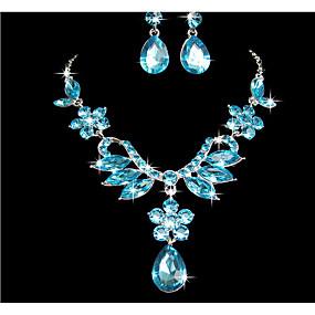 povoljno Nakit za vjenčanje i izlaske-Žene Komplet nakita Privjesci Cvijet Naušnice Jewelry Crvena / Plava Za Vjenčanje Party Special Occasion godišnjica Rođendan
