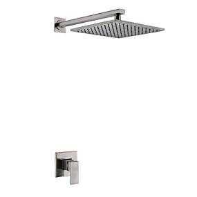 preiswerte Armaturen-Duscharmaturen Gebürsteter Nickel Wandmontage Keramisches Ventil Bath Shower Mixer Taps / Messing / Einzigen Handgriff Zwei Löcher