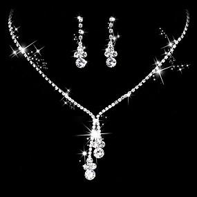povoljno Nakit za vjenčanje i izlaske-Žene Kubični Zirconia Viseće naušnice Choker oglice Svadbeni nakit Setovi Ispustiti Simple Style Elegantno Kubični Zirconia Srebrna Naušnice Jewelry Pink Za Vjenčanje godišnjica Party / večernja