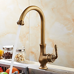 cheap Kitchen Faucets-Luxurious Antique Copper Deck Mounted Antique / European Kitchen Taps / Brass High Arc Kitchen faucet