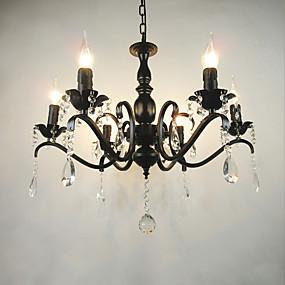 povoljno Lámpatestek-6-Light Lusteri Ambient Light Crn Metal svijeća Style 110-120V / 220-240V / E12 / E14