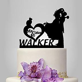 povoljno Darovi i pokloni za zabave-Figure za torte Klasični Tema / Romantika / Vjenčanje Par Classic plastika Vjenčanje / godišnjica s 1 pcs Poli Bag