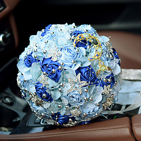 economico Bouquet sposa-Bouquet sposa Bouquet Matrimonio Con perline / Pizzo / Seta 28 cm ca.