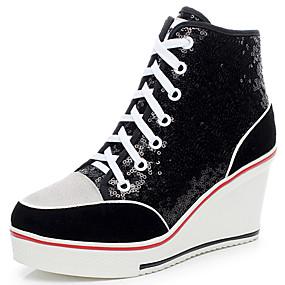 preiswerte Shenn®-Damen Paillette / Wildleder Herbst / Winter Modische Stiefel Sneakers Plattform / Keilabsatz Runde Zehe / Geschlossene Spitze Paillette / Schnürsenkel Schwarz / Silber / Rosa