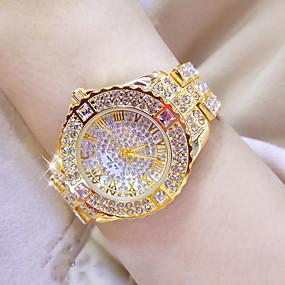 povoljno Ženski satovi-Žene Luksuzni sat Ručni satovi s mehanizmom za navijanje Diamond Watch Nehrđajući čelik Srebro / Zlatna Vodootpornost Kronograf Kreativan Analog dame Simulirani Diamond Watch Elegantno Bling Bling -