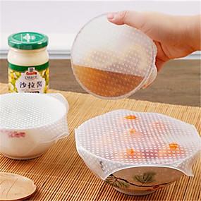 preiswerte Küche & Haushalt-4 stücke multifunktionale lebensmittel frischhaltung saran wrap küche werkzeuge wiederverwendbare silikon lebensmittelverpackungen dichtung vakuumdeckel deckel stretch